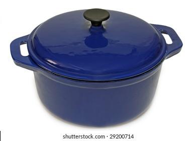 Blue ceramic pot isolated on white