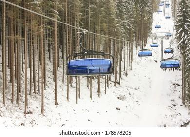 Blue chair lifts in Jasna Ski Resort, Slovakia