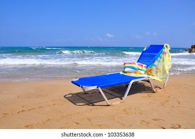 Blue chair on the beach