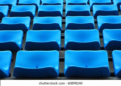 blue chair seats in an empty Stadium Seats , stand