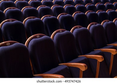 Blue chairs in the auditorium of the theatre or cinema