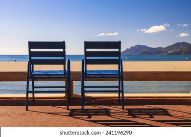 The blue chairs on the Croisette of Cannes Film Festival