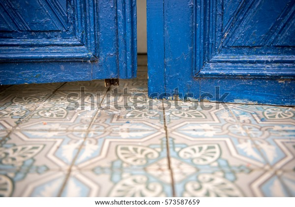 Blue chapel door