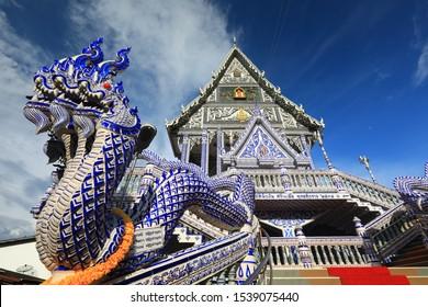 Blue chapel ,Wat Pak Nam Khaem Nu  ,Chanthaburi ,Thailand