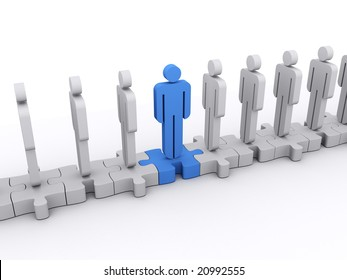 A blue character is facing in a different direction than gray character. Concept of standing out from the crowd, difference, teamwork,...