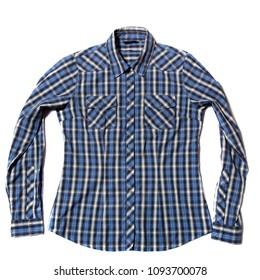 Blue Check men's shirt on white background