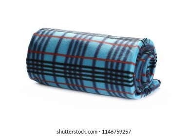 Blue checkered blanket isolated on white background