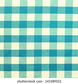 blue checkered tablecloth