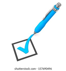 Blue checklist with ballpen on the white background.