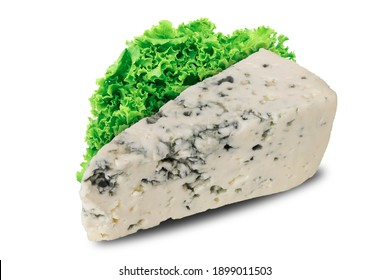 Blue cheese on an isolated white background. Blue cheese and lettuce