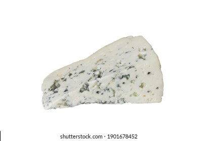 Blue cheese on an isolated white background. Cheese triangle