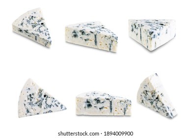 Blue cheese on a white isolated background. toning. selective focus