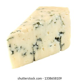 Blue cheese one slice cut off isolated on white background with clipping path.