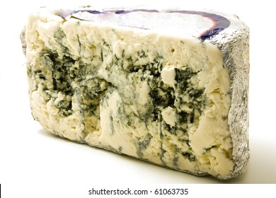 blue cheese over white background