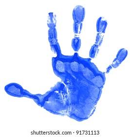 Blue child handprint isolated on white background