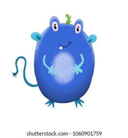 Blue children's cute monster character. Original digital illustration.