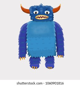 Blue children's cute monster character. Original digital illustration.