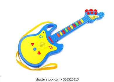 blue children's guitar isolated on white background
