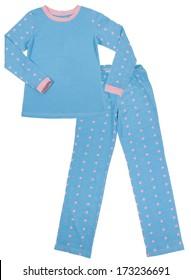 Blue children's pajamas. Isolated on white background