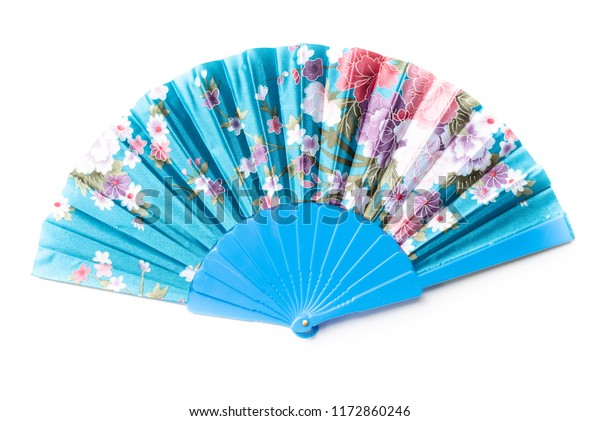 Blue Chinese Fan Flower Pattern Isolated Stock Photo (Edit Now