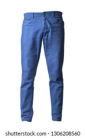 blue chinos pants isolated on white, ghost style of fashion photography,