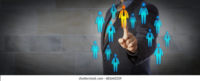 Blue chip business man is choosing one male in a crowd of male and female worker icons. Concept for business partnership, HRM, finding the right customer, leadership, promotion, recruiting and CRM.