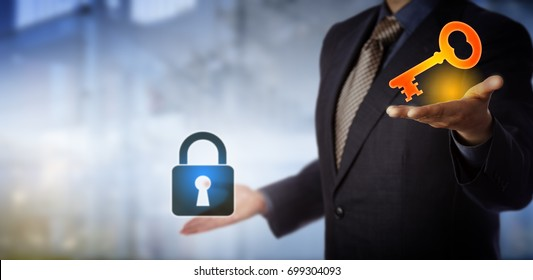 Blue chip business manager is holding up a virtual bright key in his left hand and a padlock in his right, as if to contrast a challenge with its solution. Leadership concept for finding a way out.