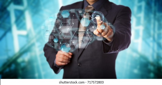 Blue chip businessman activating artificial neural network interface. Computer science concept for machine learning, pattern recognition, artificial intelligence, data driven modeling and analytics.