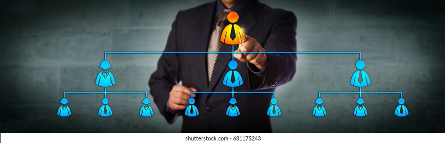 Blue chip chairman is selecting the top executive in a hierarchical organizational chart. Business concept for multi level marketing network, recruitment, leadership and corporate hierarchy.