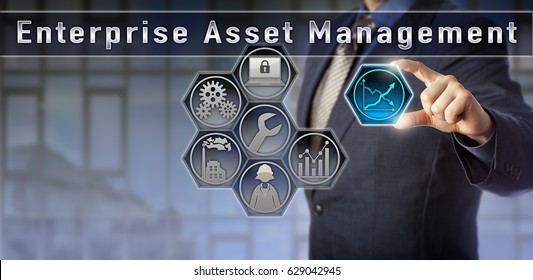 Blue chip corporate consultant is presenting on Enterprise Asset Management via a virtual touch screen interface. Business and technology concept for management of assets across business units.