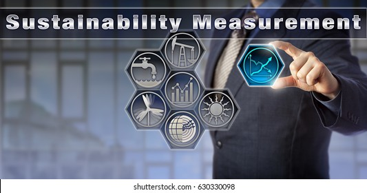 Blue chip corporate manager is reporting on Sustainability Measurement. Industry and technology concept for economics and sustainability, environmental statistics, water management and energy sectors.