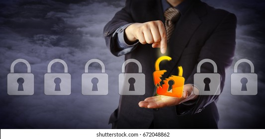 Blue chip cyber security manager is pointing out a broken virtual padlock in a lineup of otherwise intact locks. Information technology concept for data security breach, cyber risk and hacker attack.
