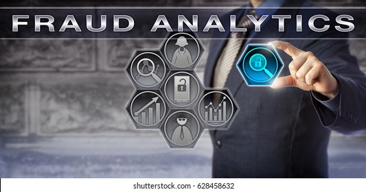 Blue chip enterprise consultant or forensic investigator is activating FRAUD ANALYTICS tools via a virtual interface. Information technology concept for fraud investigation and case management.