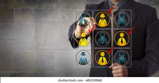 Blue chip manager is checking off four white collar workers in a virtual planning matrix to select them for a work team. Business concept for HR, marketing segmentation, CRM and target audience.