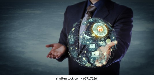 Blue chip manager holding a virtual globe shaped model of a cyber physical system. Information technology concept for internet of things, inter networking of connected devices and data exchange.