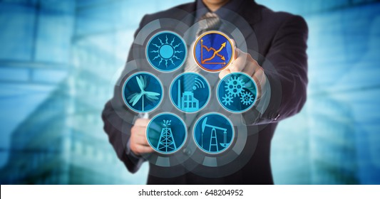 Blue chip manager monitoring energy efficiency via a virtual control interface. Industry concept for efficient energy use, sustainability reporting, audit and rise in renewable power generation.