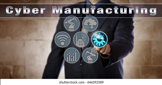 Blue chip operations manager is activating Cyber Manufacturing via a virtual control matrix. Industrial concept for cyber-physical systems, industry 4.0, smart factory and real-time data transfer.