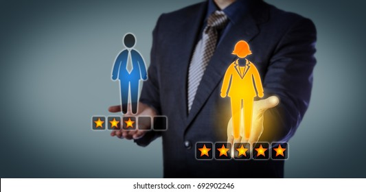 Blue chip recruiting executive preferring a female employee with a five star rating over a male worker with three stars. Business concept for talent acquisition, performance review and gender gap.