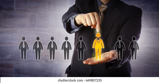 Blue chip recruitment manager selecting the only female candidate in a lineup of applicants. Business concept for gender equality, talent acquisition, career opportunity, skill and employability.