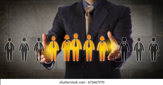 Blue chip recruitment manager selecting a group of five employees in a lineup of worker icons. Business concept for team building, customer segmentation and management succession. Wide composition.
