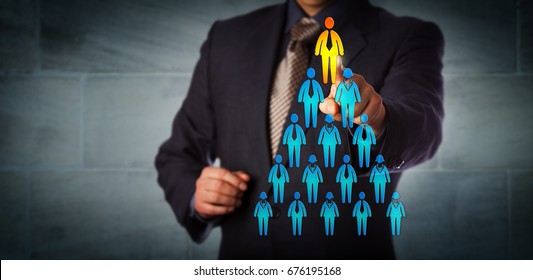 Blue chip recruitment manager selecting the employee icon atop a pyramid structure. Business concept for talent management, network marketing, career success, corporate hierarchy and promotion.