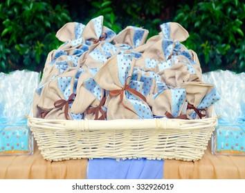 blue christening favors