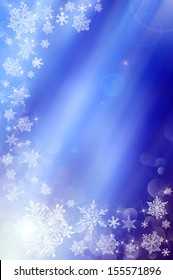 Blue christmas background with stars and white snowflakes