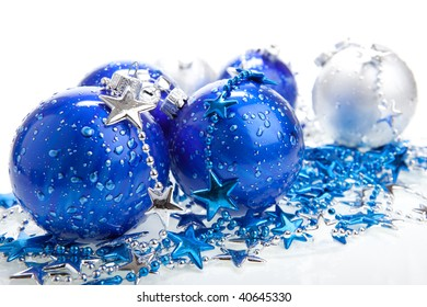 Blue Christmas ball baubles with silver decoration, isolated