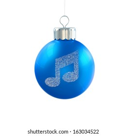 Blue Christmas Ball Icon with Musical Note Ornament