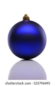 blue christmas ball on a white background with a soft shadow