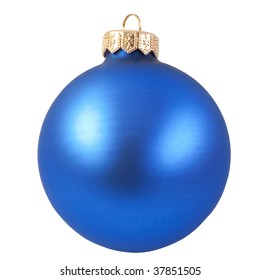 blue christmas ball (christmas ornament ).  Isolated over white.