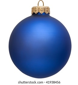 blue christmas ball (christmas ornament). Isolated over white.