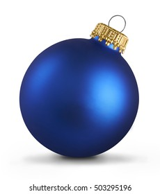 Blue christmas ball over white background