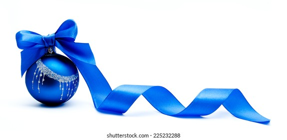 Blue christmas ball with ribbon isolated on a white background